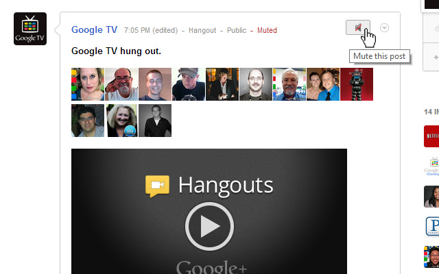 Mute Button for Google+