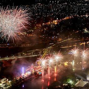Fireworks over Melbourne by Brett Styles - City,  Street & Park  Night ( night, cityscape, river, fireworks, lights,  )