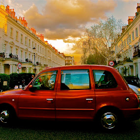 Red Cab. by Alicia Lockwood - City,  Street & Park  Neighborhoods ( car, building, red, street )