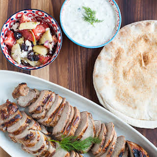 Greek-Marinated Pork Tenderloin with Tzatziki.