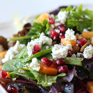 Persimmon - Pomegranate Salad with Goat Cheese & Pistachios