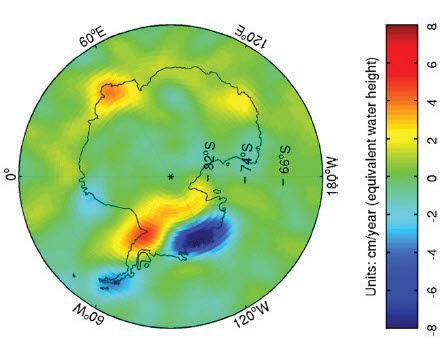 위성을 이용해 관측한 남극의 연간 빙하 변화량