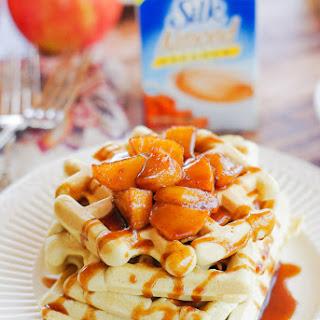 Fluffy Caramel Almond Waffles with a Cinnamon Apple Syrup
