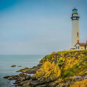 Pigeon Point Lighthouse by Sunil Pawar - Buildings & Architecture Other Exteriors ( pigeon, america, california, no person, beautiful, lighthouse, sea, beach, tallest, landscape, coast, point, nature, sunset, weather, scene, light, rocks,  )
