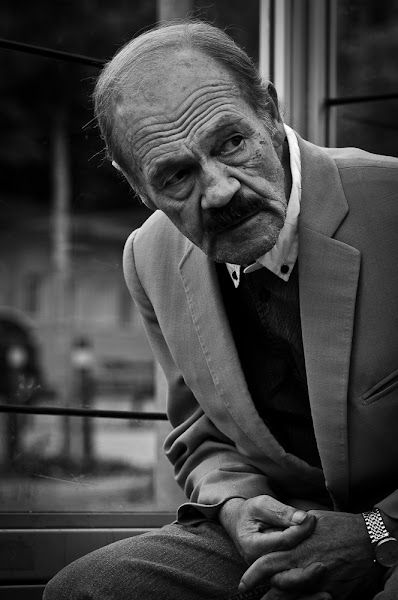 """Photo: I'm not there yet, I'm too shy. For some it seems so easy, so natural, not for me. I still enjoy street portraiture but I really want to step out from my comfort zone and out from behind the camera and share a moment with the people I photograph. It's like +Mike Shaw says """"One of things about doing street portraits is the amount of time you get to spend with your subjects"""". As I said, I'm not there yet but I hope I can get there one day. By the way, if you haven't checked out +Mike Shaw yet I definitely suggest you do. He has some truly amazing stuff!  #MonochromeMonday"""