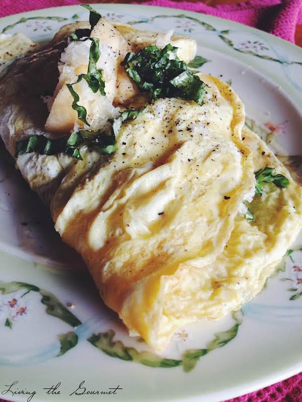 Basil, Apple, Cheese And Honey Omelet Recipe