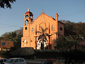 Photo: The La Crucecita church in the morning light, still dressed for Christmas.