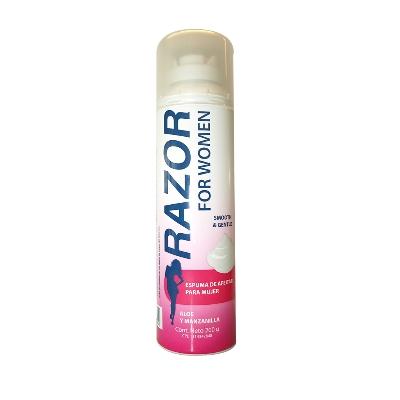 crema afeitar razor espuma aloe p/mujer 200gr