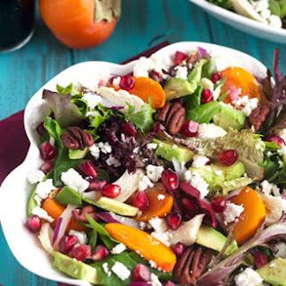 Pomegranate Persimmon Salad With Honey Balsamic Vinaigrette {GF + High Protein}.