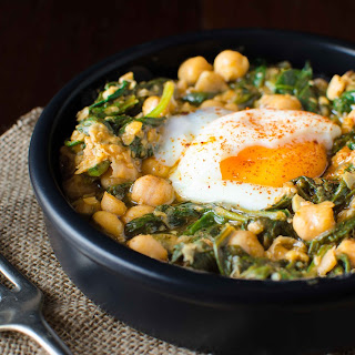 Chickpeas And Spinach With Spices, Sherry Vinegar And A Soft Boiled Egg
