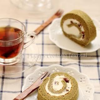 Matcha And Azuki Bean Roll Cake.