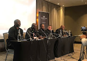 From left to right: Golden Arrows coach Steve Komphela, Baroka FC boss Wedson Nyirenda, former Football Association of Zamiba president Kalusha Bwalya, AmaZulu coach Cavin Johnson and Mamelodi Sundowns boss Pitso Mosimane.