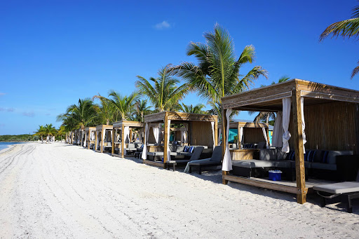 Majesty-of-Seas-Beach-Bungalows.jpg - Bungalows along the beach at CocoCay, the Royal Caribbean private island in the Bahamas.