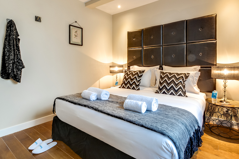 Luxury bedroom at Berthe Serviced Apartment, Montmartre