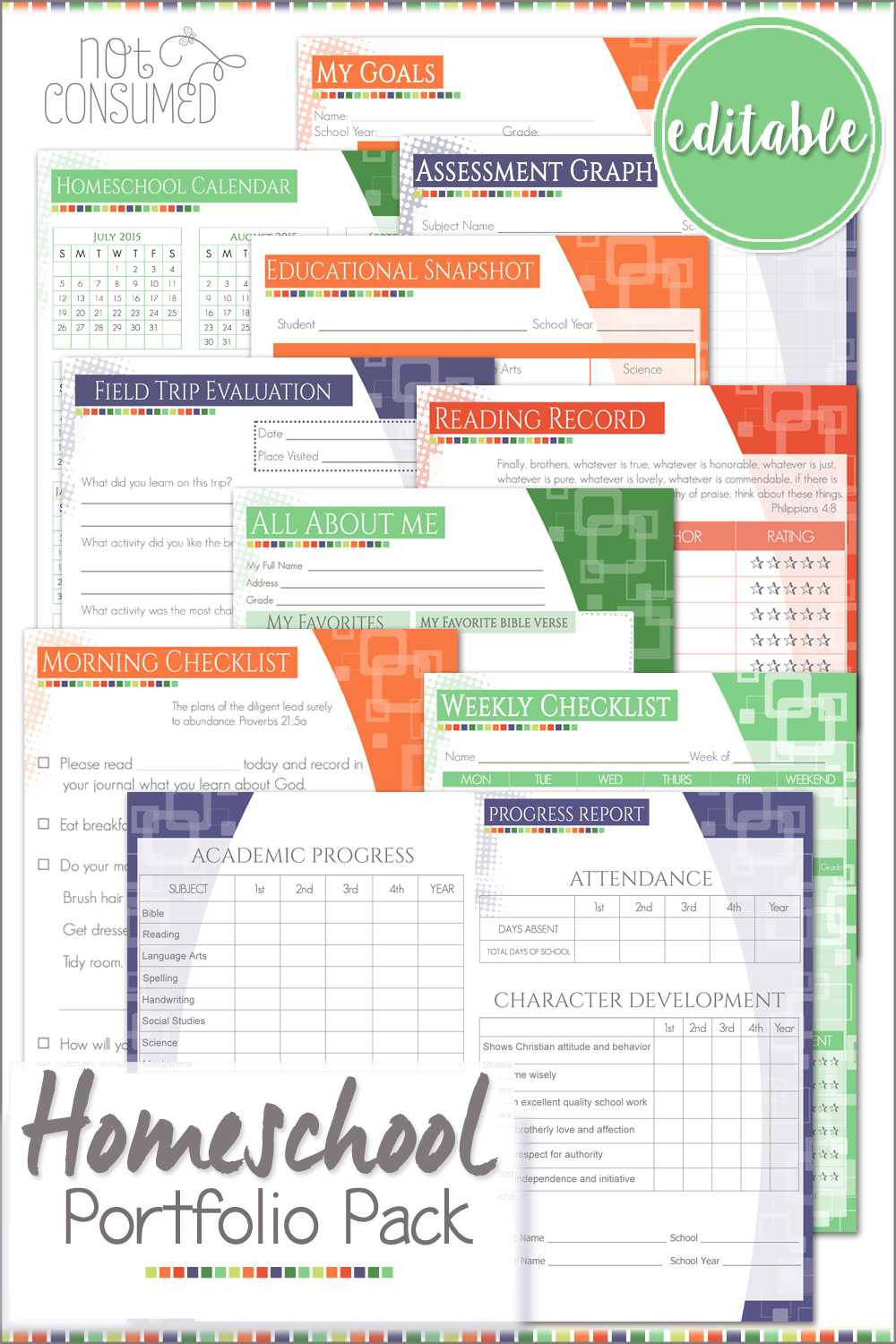 homeschool checklist template - homeschool portfolio printable pack