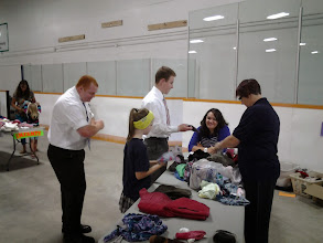 Photo: One of the sorting tables and helpers