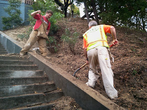 Photo: View of Hidden Garden Steps (16th Avenue, in San Francisco's Inner Sunset District) on September 13, 2013 as major erosion-control work by San Francisco Department of Public Works begins on west side of hill  For more information about the Steps, please visit our website (http://hiddengardensteps.org), view links about the project from our Scoopit! site (http://www.scoop.it/t/hidden-garden-steps), or follow our social media presence on Twitter (https://twitter.com/GardenSteps), Facebook (https://www.facebook.com/pages/Hidden-Garden-Steps/288064457924739) and many others.
