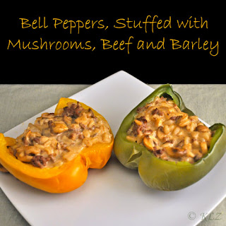 Bell Peppers Stuffed with Mushrooms, Beef and Barley
