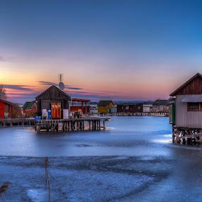 sunset at Bokod by Bela Paszti - Landscapes Sunsets & Sunrises ( water, hungary, winter, sunset, ice, lake, fishing, house, bokod,  )