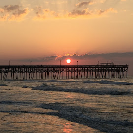 Sunrise at Surfside by Brittany Davis - Uncategorized All Uncategorized ( colorful, waves, pier, beach, sunrise,  )