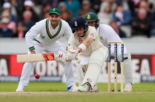 England's Joe Root hits a four. REUTERS
