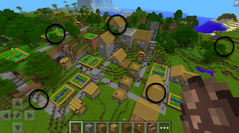 A math-oriented scavenger hunt in a Minecraft landscape