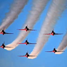 Red Arrows in formation by Peter Wyatt - Transportation Airplanes ( weymouth, arrows, red, festival, airoplane, jet, redarrows )