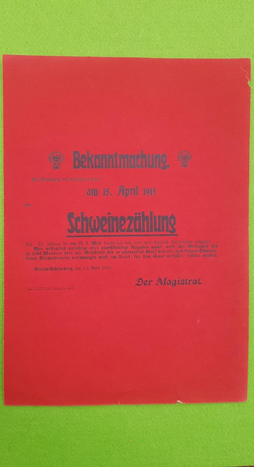Bekanntmachung - Plakat vom Beginn des Ersten Weltkrieges - 1915