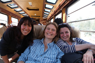 Photo: On the train to Machu Picchu- Christina, our trip facilitator, and Annemarie, my dear Australian friend