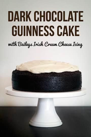 Dark Chocolate Guinness Cake with Baileys Cream Cheese Icing