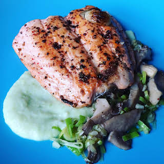 Garlic-Pepper Salmon with Celery Puree and Mushrooms with Leeks.