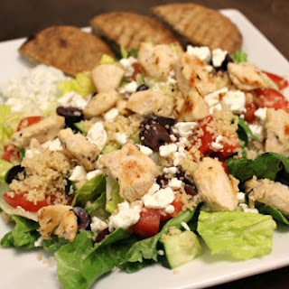Chicken Souvlaki Couscous Salad with Yogurt-Feta Sauce & Pita Crisps