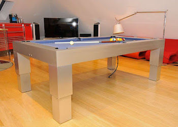 Corner view of the pneumatic pool table in a games room