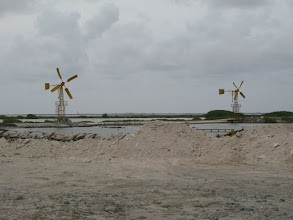 Photo: windmills pumping for the salt pans