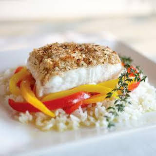 Macadamia Crusted Halibut Fillets.