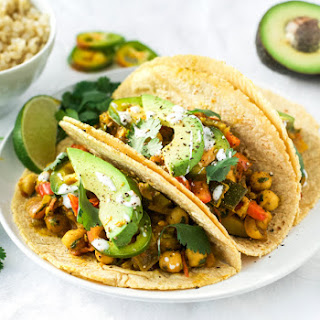 Roasted Zucchini and Chickpea Tacos {Vegan}.