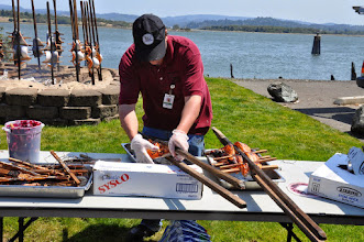 Photo: removing salmon after baked