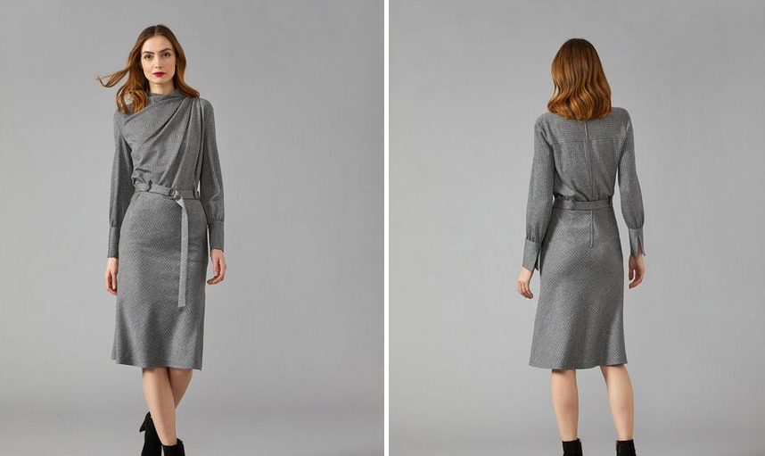 winter capsule wardrobe,women wear draped wool dress