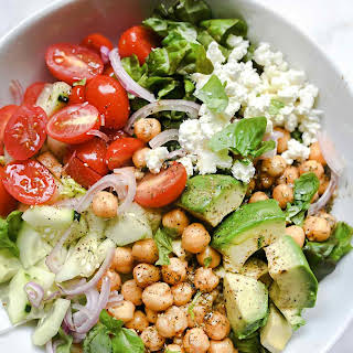 Crunchy Green Salad with Dilly Chickpeas and Avocado.