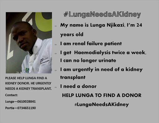Lunga takes to Twitter to find a new kidney