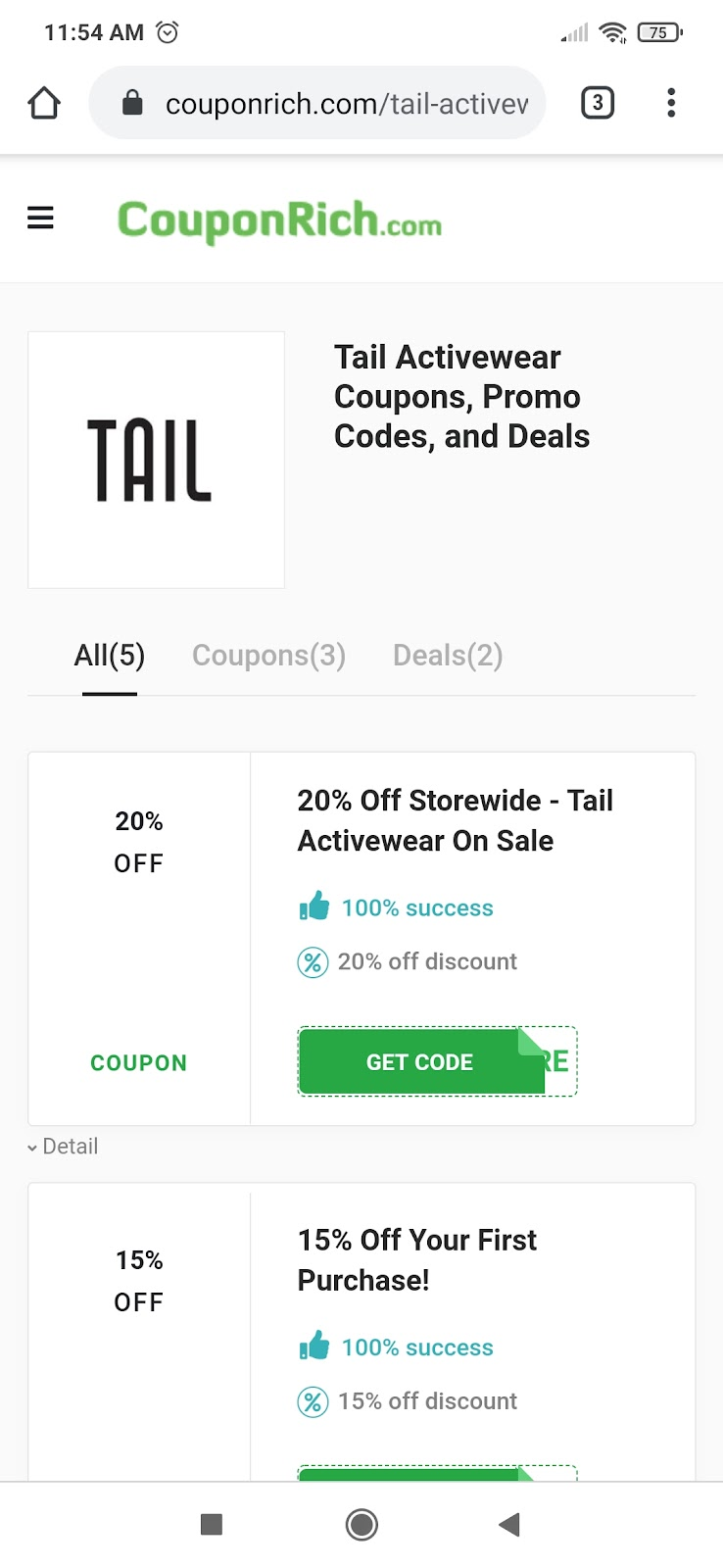 Tail Activewear coupon code on Couponrich website