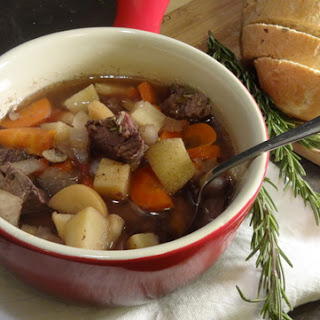 Slow Cooker Red Wine and Beef Stew with Rosemary Bread.