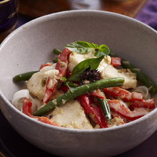 Thai Green Curry with Fish and Noodles.