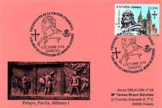 Photo: Tarjeta del matasellos de presentación del sello del 1300 aniversario del Reino de Asturias. La fecha de presentación fue el 20 de diciembre pero la del matasellos coincide con la de emisión del sello, el 5 de octubre