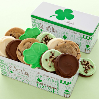 Photo: St Patricks Day Green Cookies clover gift tin