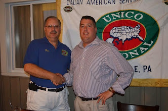 Photo: The Carbondale chapter of UNICO was proud to install it's new president Brian Durkin ( right) . Congratulating him on his new office is past Pres. Thomas Gretzula