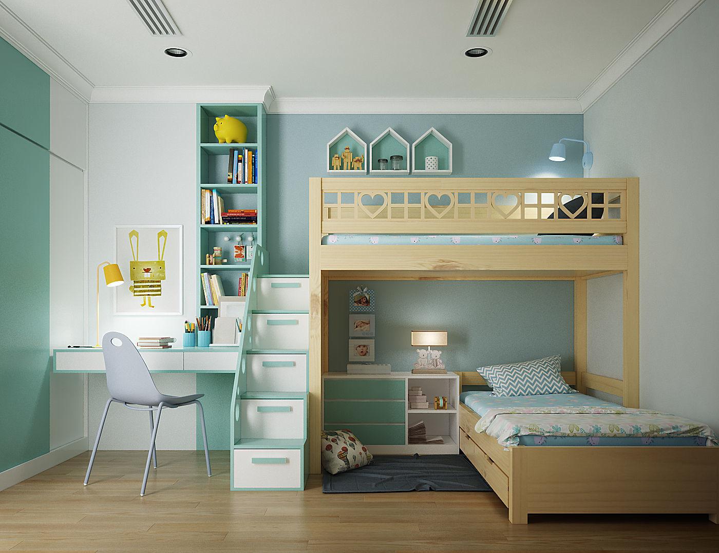 Penggunaan furnitur multifungsi pada kamar anak - source: cgtrader.com