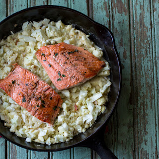 "Thyme-Rubbed Salmon with Cauliflower ""Risotto""."