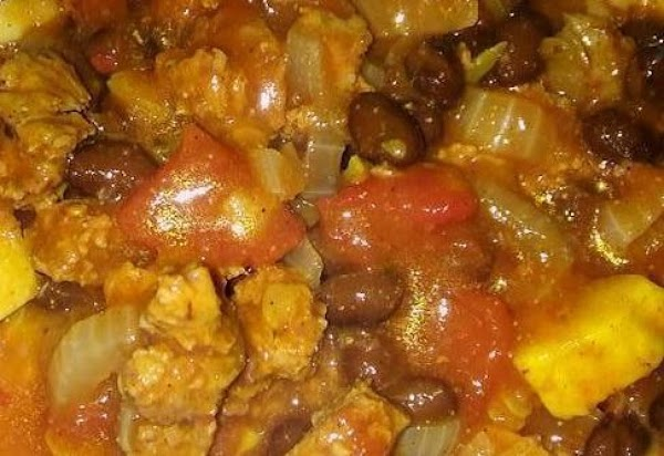 Add the diced tomatoes, tomato paste, water and spices.  Simmer 5 minutes.