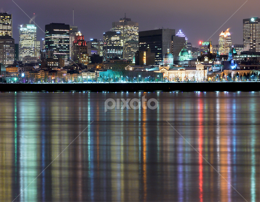 Montreal by Marianna Armata - City,  Street & Park  Vistas ( montreal, sky scraper, building, canada, metropolis, reflections, blur, marianna armata, landscape, city scape, lights, urban, night, motion, downtown, river )